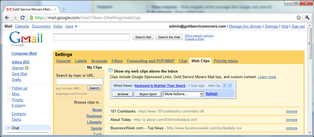 Gmail Disable Web Clips